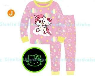 🚚 Frozen hello kitty toki glow in the dark pyjamas set