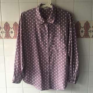 Vintage Taro Polka Dot Shirt