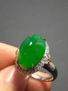 [RESERVED] Imperial Bright green cabochon jade ring