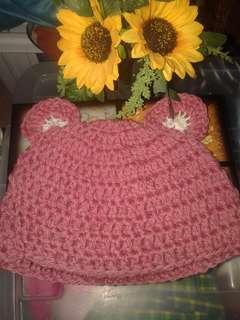 crocheted bonnet/hat