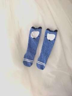 Blue reindeer baby socks