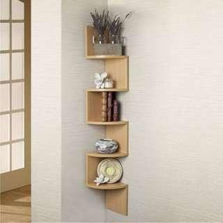 Corner wall shelf bamboo space saving bookshelf book wood