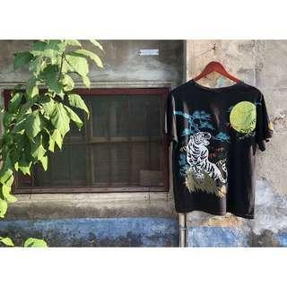 🚚 🇯🇵 日本風浮世繪短袖棉T 中國傳統古著復古松柏老虎白鶴明月 Vintage閒雲野鶴圓領短袖T恤