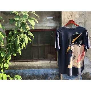🚚 🇯🇵喜多川歌麿扇屋花扇 / 浮世繪美人画大圖棉衣 素面圓領T恤 古著復古日本風 藝伎江戶時期歌舞伎町Vintage