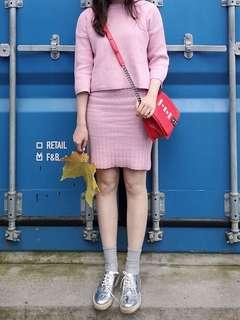 Soft pink knitted long sleeve top and inner singlet dress
