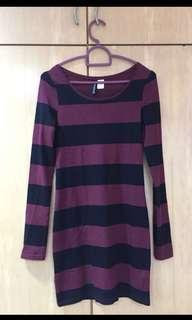 Striped dress purple black