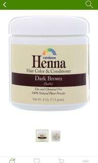 Henna Hair Dye Dark Brown Organic Powder