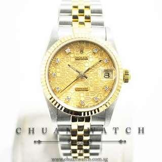 Pre-Owned Rolex Boys' DateJust 31mm 68273 Champagne Jubilee Diamonds - Discontinued