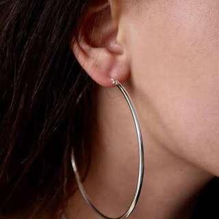 Silver big hoop earrings