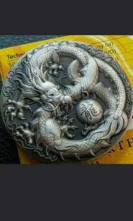 999.9 Silver Dragon 2018 5oz Silver Antiqued Coin
