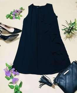 SEEYAH Black ruffle shift dress