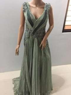 REPRICED!! Green Floral Flowy Gown