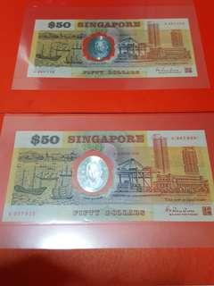 $50-singapore 1990 commerative notes.A387113-A357925.Total 2sets.UNC