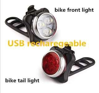 Bicycle super strong rechargeable front and rear light
