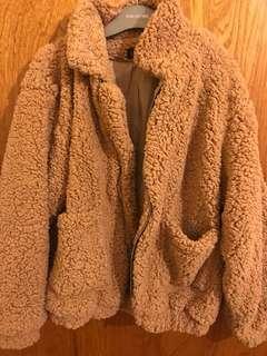 Brown fluffy teddy jacket