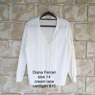 Womens Diana Ferrari size 12 FREE POST lace white cardigan sweater casual beach