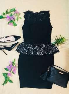 PLEATED Lace Peplum Dress