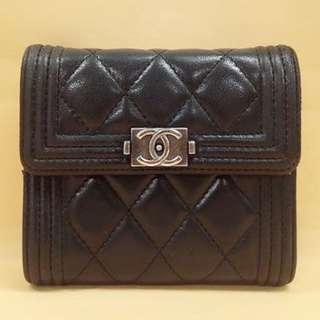 AUTHENTIC CHANEL Boy Compact Short Tri-fold Wallet