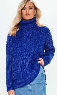 Missguided Size 10 Blue Oversized Fluffy Sweater