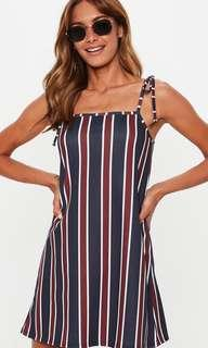 Missguided Size 10 Blue/Red Stripe Cami Dress