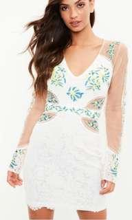 Missguided Size 10 White Embroidered Mesh Bodycon Dress