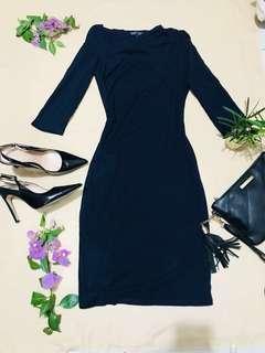 Zalora vertical v-neck dark teal blue dress (three-fourth)