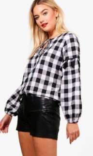 Boohoo Size 10 Black/White Gingham Oversize Top