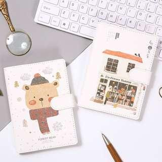 PO Illustrated Leaf Pattern / Book Shop / Bear / Cat Print Note Book Notebooks Journal 4 Designs PU Leather