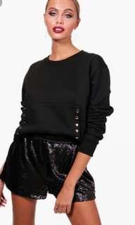 💖Boohoo Size 10 Black Popper Oversized Crop Sweater