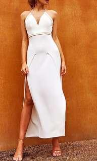 💖Popcherry Size L(12) White Grecian Maxi Dress
