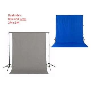 2 in 1 blue and gray backdrop cloth (cloth only)