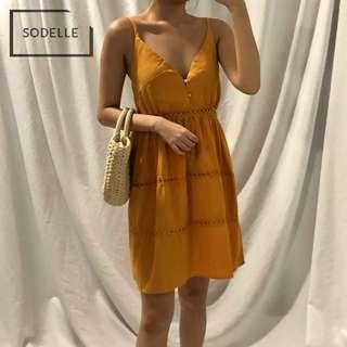 INSTOCKS Tier laser cut v neck layer spag cami dress