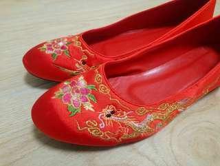中式褂鞋(送紅睡衣)