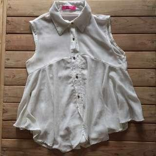 White Button Down See-Through Sleeveless