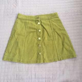H&M army green denim skirt