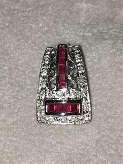 天然方形紅寶石鑽石18k金墜子