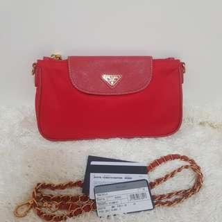ON HAND: Authentic Prada BT0779 Tessuto Nylon Convertible Clutch Sling Bag in Rosso