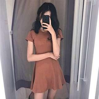 🚚 INSTOCKS Basic fitted skater short sleeve dress - dark tan