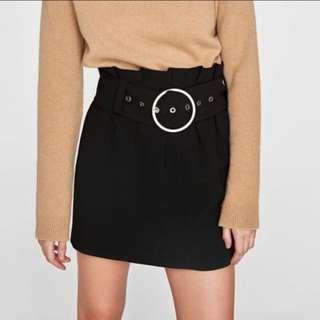 Zara Black Buckled Mini Skirt size XS