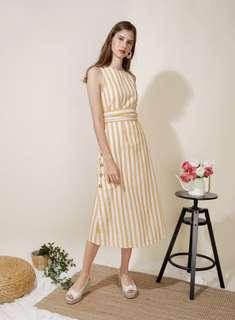 Andwelldressed Philosophy Button Sides Midi Dress (Yellow Stripes)