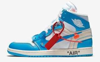 Off-White x Nike Jordan 1 UNC 2018 University Blue
