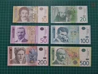 Serbia 6pc set 10-500 Dinara UNC