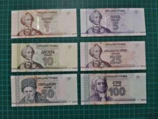 Transnistria 6pc set 1-100 Rubles 2007 UNC