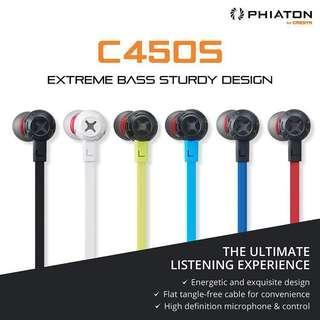 🚚 Phiaton Extreme Bass In-Ear Earphone C450S w/Noise Isolation, Built-in Mic, Ear Buds - Black