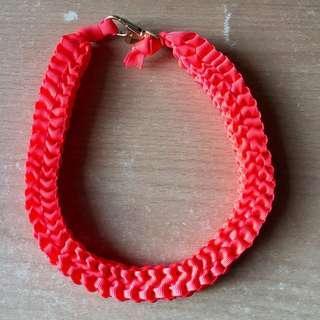 🚚 Elastic Braided Neon Orange Belt Necklace Bracelet Choker Keychain #single11