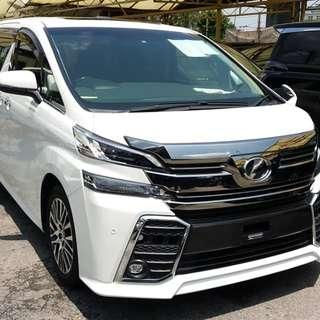 """Unreg Vellfire 2.5 ZG  (White/2015)   - Sunroof - 7 seater pilot seats (Half-leather) - 2 power doors - power boot  - 18"""" premium rims - Reverse camera - Front Local Fm Dvd Player with Japan ALPINE Roof"""