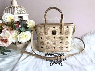 MCM Anya Top Zip Shopper Bag-Beige