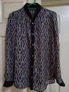 Grey-black chiffon top (with feather pattern)