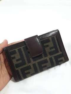 Authentic ▶️FENDI milano mono FF zucca bifold snap wallet. .