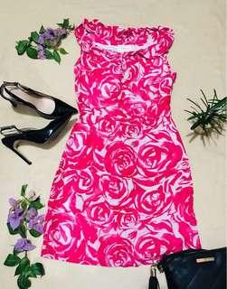 Authentic KATE SPADE Pink floral dress (w/ ruffle neckline)